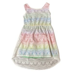 Toddler summer dress lace and rainbow 4t